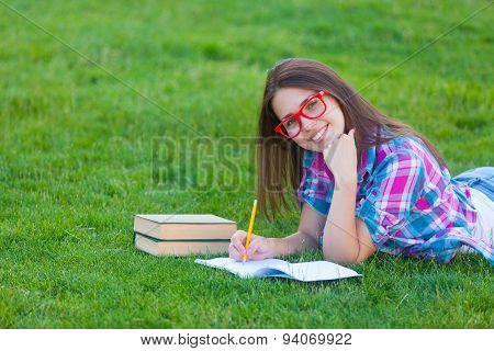 Girl With White Books And Notebook