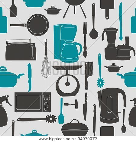 Grunge Retro vector illustration seamless pattern of kitchen too