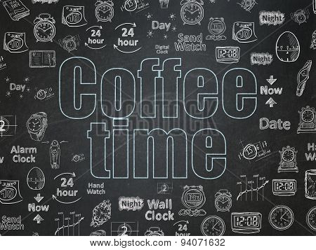Timeline concept: Coffee Time on School Board background