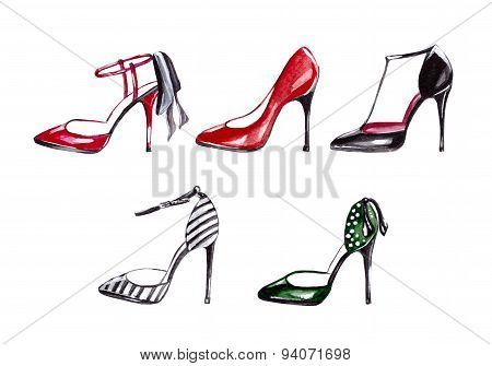 Women's shoes watercolor. Fashion.
