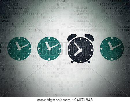 Timeline concept: alarm clock icon on Digital Paper background