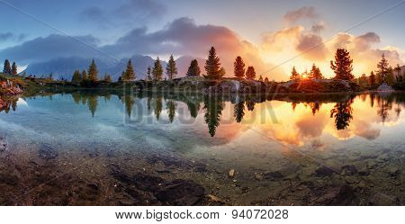 Mountain Alps Lake Sunset Panorama In Dolomites