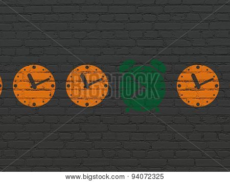 Time concept: alarm clock icon on wall background