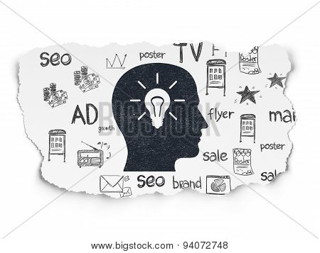 Marketing concept: Head With Light Bulb on Torn Paper background