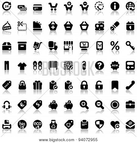 Iconset With Refection For Shopping