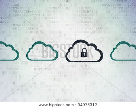 Cloud computing concept: cloud with padlock icon on Digital Paper background