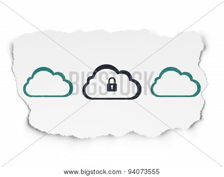 Cloud computing concept: cloud with padlock icon on Torn Paper background