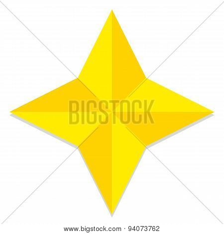 Vector Low Poly Style Yellow Star Isolated