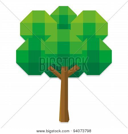 Vector Low Poly Style Tree Isolated On White Background