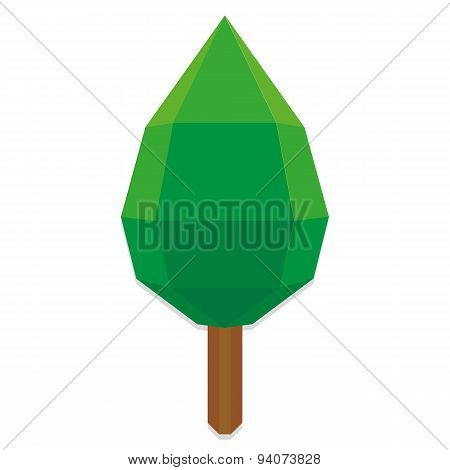 Vector Low Poly Style Green Tree Isolated
