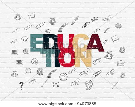 Studying concept: Education on wall background