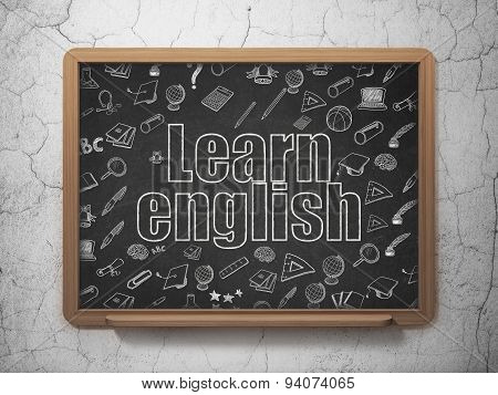 Learning concept: Learn English on School Board background