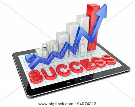Graph And Chart On Tablet Pc - Success Concept.