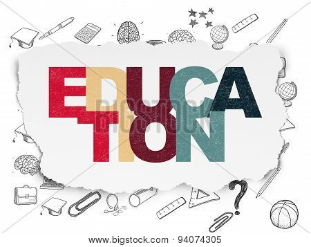Learning concept: Education on Torn Paper background