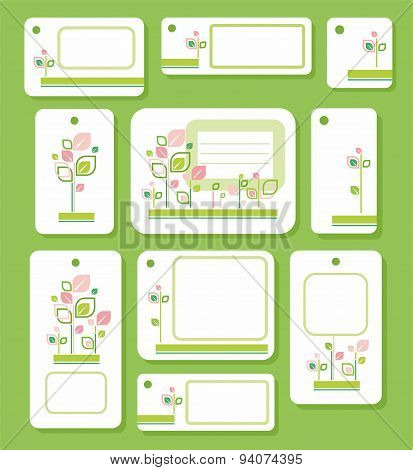 Tags, Labels, Green, Pink Lea...