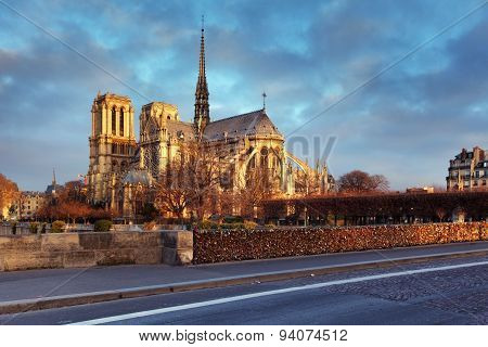 Notre Dame Of Paris Arches And Structure At Sunrise Light
