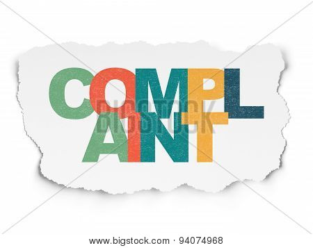 Law concept: Complaint on Torn Paper background