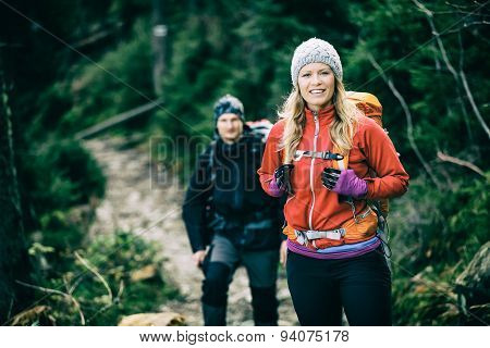 Couple Hikers Walking Hiking