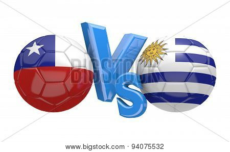 Soccer competition, national teams Chile vs Uruguay