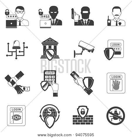 Bank security black icons set