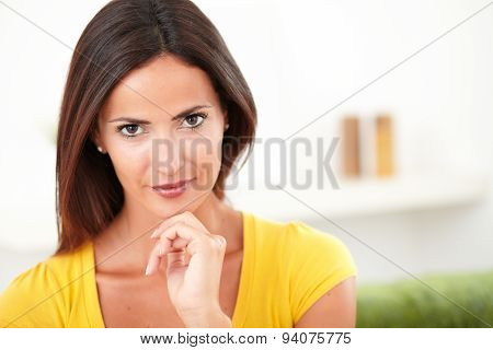 Confident Caucasian Woman Looking At The Camera