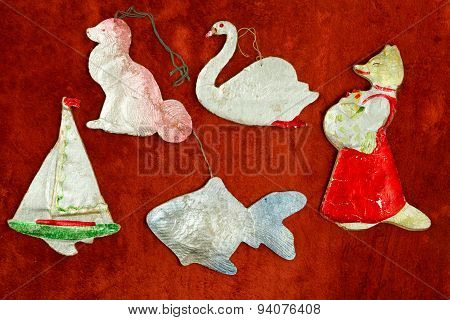 Old Cardboard Christmas Toys. The Rustic Style. The Middle Of The 20Th Century.
