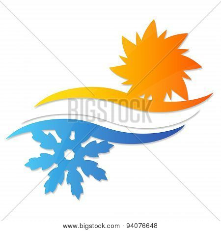 Sun and snowflake for a vector