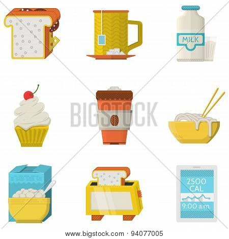 Food flat colored icons vector collection