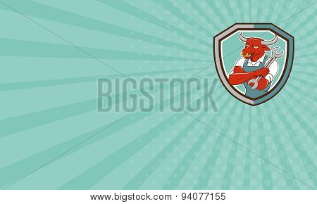 Business Card Bull Mechanic Spanner Standing Shield Cartoon