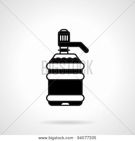 Black large water bottle vector icon