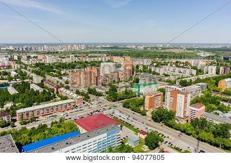 Aerial view on Melnikayte street. Tyumen. Russia