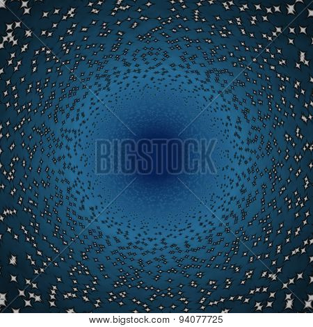 Abstract Blue Tunnel Or Black Hole Between The Stars In Space
