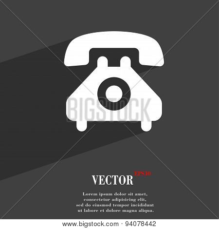 Retro Telephone Handset  Icon Symbol Flat Modern Web Design With Long Shadow And Space For Your Text
