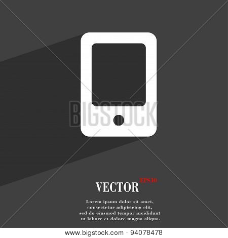 Tablet Icon Symbol Flat Modern Web Design With Long Shadow And Space For Your Text. Vector