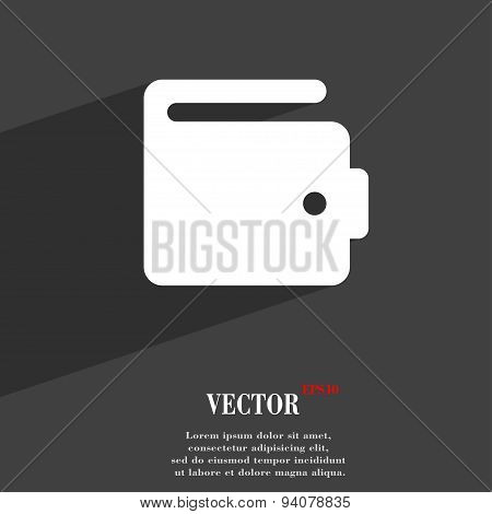 Purse Icon Symbol Flat Modern Web Design With Long Shadow And Space For Your Text. Vector