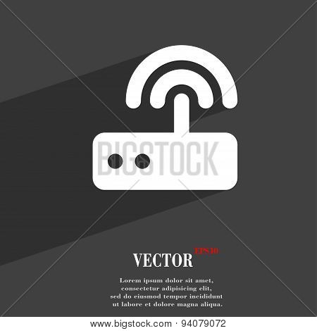 Wi Fi Router Icon Symbol Flat Modern Web Design With Long Shadow And Space For Your Text. Vector