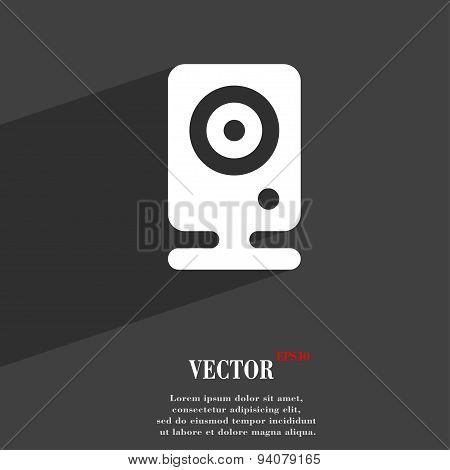Web Cam Icon Symbol Flat Modern Web Design With Long Shadow And Space For Your Text. Vector