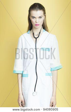 Pretty Nurse Woman With Phonendoscope