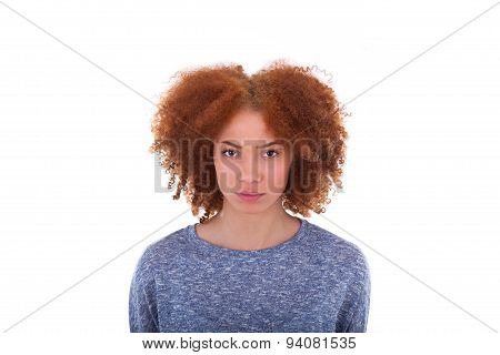 Young Angry African American Teenage Girl Isolated On White Background