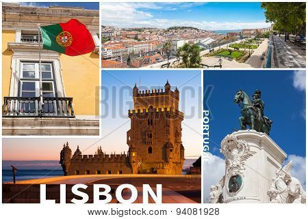 Picture Collage Of  Lisbon City  In Portugal