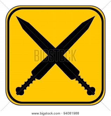 Crossed Gladius Swords Button.