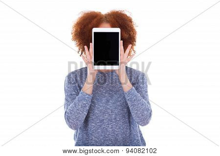 Black African American Student Girl Holding A Tactile Tablet In Front Of Her Face