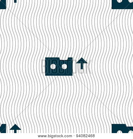 Audio Cassette Icon Sign. Seamless Pattern With Geometric Texture. Vector