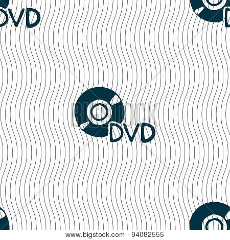 Dvd Icon Sign. Seamless Pattern With Geometric Texture. Vector
