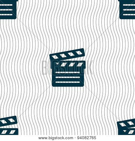 Cinema Clapper Icon Sign. Seamless Pattern With Geometric Texture. Vector