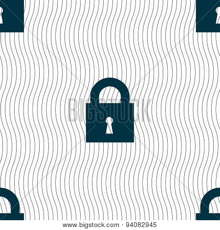 Closed Lock Icon Sign. Seamless Pattern With Geometric Texture. Vector