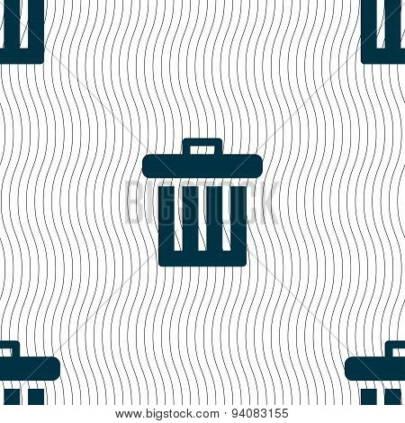 Recycle Bin Icon Sign. Seamless Pattern With Geometric Texture. Vector