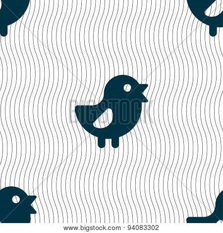 Chicken, Bird Icon Sign. Seamless Pattern With Geometric Texture. Vector
