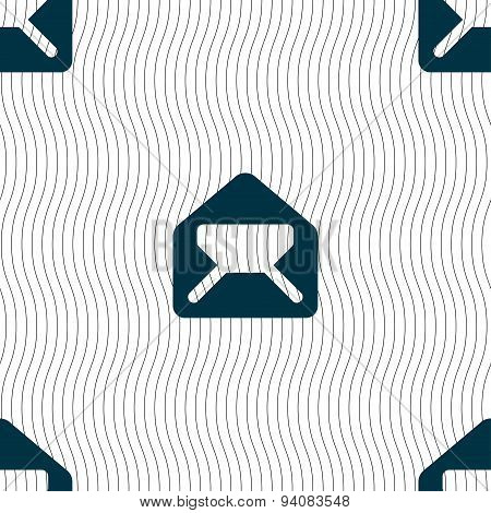 Mail, Envelope, Letter Icon Sign. Seamless Pattern With Geometric Texture. Vector