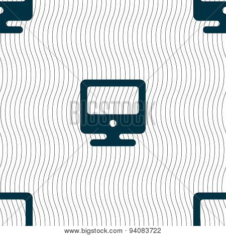 Monitor Icon Sign. Seamless Pattern With Geometric Texture. Vector